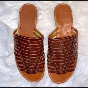 Franco Sarto leather slides stretch to foot tan 8